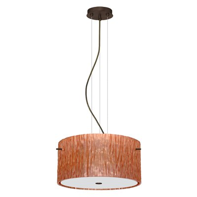 Tamburo 3-Light Drum Pendant Finish: Brushed Bronze, Shade Color: Stone Copper Foil