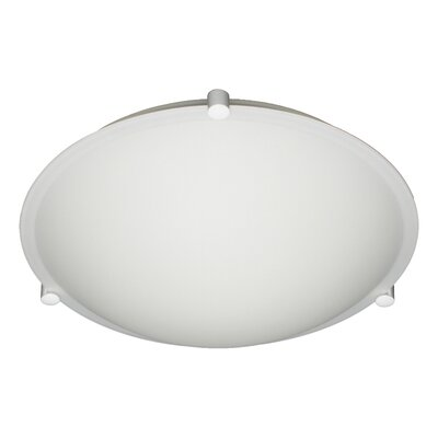 Steel Flush Mount Finish: White, Glass Shade: Opal Matte, Size: 3.625 H x 11.875 W x 11.875 D