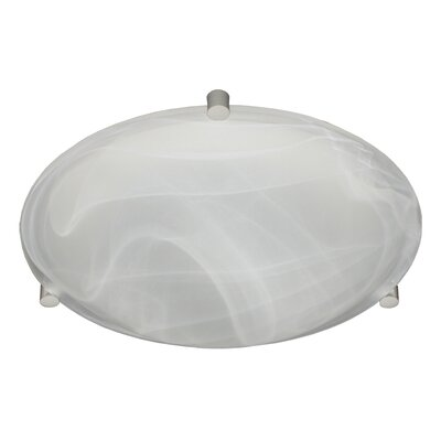 Steel Flush Mount Finish: Satin Nickel, Glass Shade: Marble, Size: 3.625 H x 11.875 W x 11.875 D