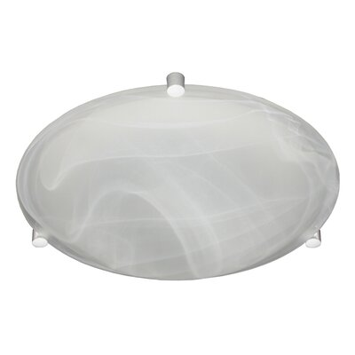 Steel Flush Mount Finish: White, Glass Shade: Marble, Size: 3.625