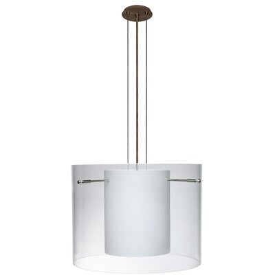 Pahu 3-Light Mini Pendant Finish: Brushed Bronze, Shade Color: Clear, Size: 11.75 H x 15.75 W x 15.75 D