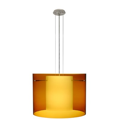 Pahu 3-Light Mini Pendant Finish: Satin Nickel, Shade Color: Armagnac, Size: 11.75 H x 15.75 W x 15.75 D