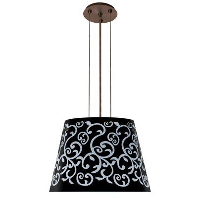 Amelia 3 Integrated Bulb Drum Pendant Finish: Satin Nickel, Shade Color: Black, Size: 10.5 H x 15 W x 15 D