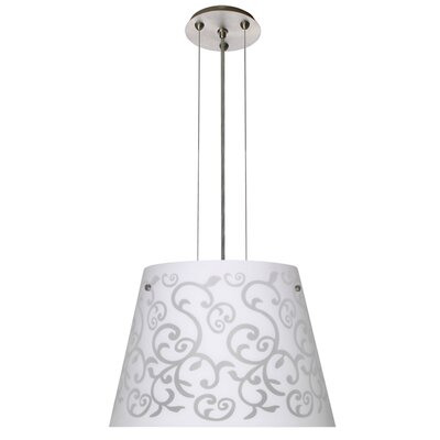 Amelia 3 LED Integrated Bulb Drum Pendant Finish: Satin Nickel, Shade Color: White, Size: 10.5 H x 15 W x 15 D