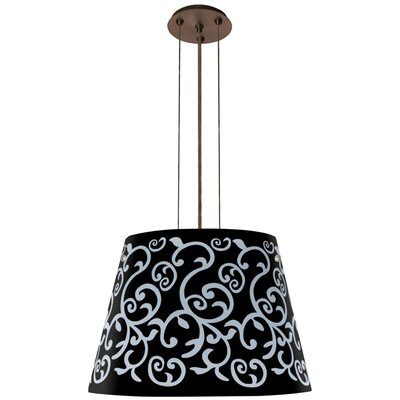Amelia 3 Integrated Bulb Drum Pendant Finish: Brushed Bronze, Shade Color: Black, Size: 12.5 H x 18.25 W x 18.25 D