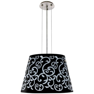 Amelia 3-Light Drum Pendant Finish: Satin Nickel, Shade Color: Black