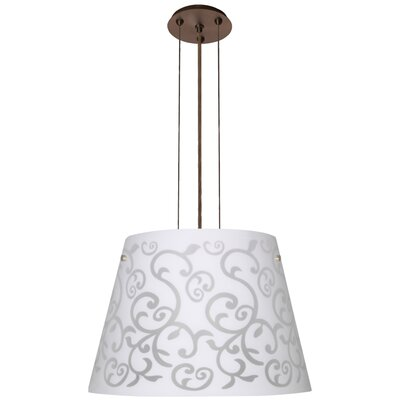 Amelia 3 Integrated Bulb Drum Pendant Finish: Brushed Bronze, Shade Color: White, Size: 12.5 H x 18.25 W x 18.25 D