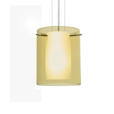 Pahu 1 Light Drum Pendant Finish: Satin Nickel, Shade Color: Transparent Gold / Opal 1KG-Y00607-SN