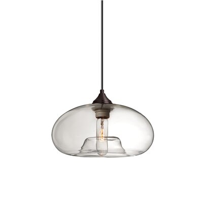 Bana 1-Light Geometric Pendant Finish: Brushed Bronze, Shade Color: Amber
