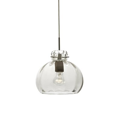 Pinta 1-Light Mini Pendant Finish: Brushed Bronze, Shade Color: Clear, Size: 9 H x 10.25 W x 10.25 D