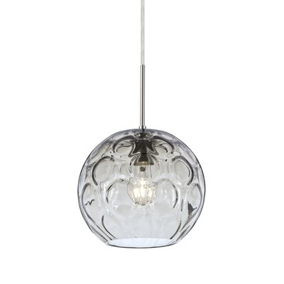 Bombay 1-Light Mini Globe Pendant Finish: Satin Nickel, Shade Color: Clear