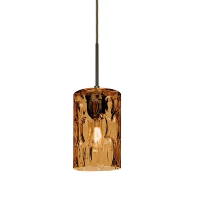 Cruise 1-Light Mini Pendant Finish: Bronze, Shade Color: Amber