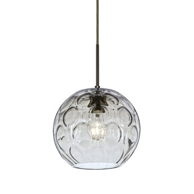 Bombay 1-Light Mini Globe Pendant Finish: Brushed Bronze, Shade Color: Clear
