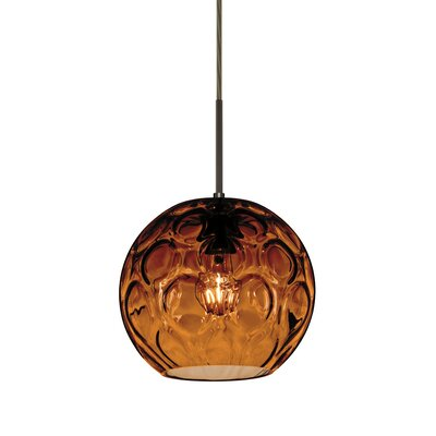 Bombay 1-Light Mini Globe Pendant Finish: Brushed Bronze, Shade Color: Amber