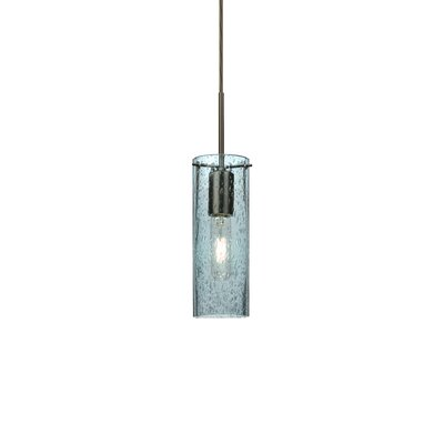 Cattalina 1-Light Mini Pendant Finish: Brushed Bronze, Shade Color: Blue, Size: 10 H x 3.5 W x 3.5 D
