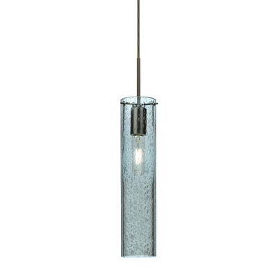Cattalina 1-Light Mini Pendant Finish: Brushed Bronze, Shade Color: Blue, Size: 16 H x 3.5 W x 3.5 D