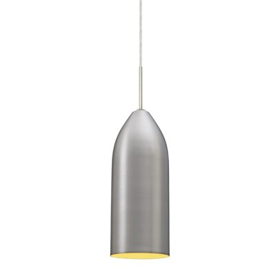 Lindy 1-Light Mini Pendant Finish: Satin Nickel, Shade Color: Gold