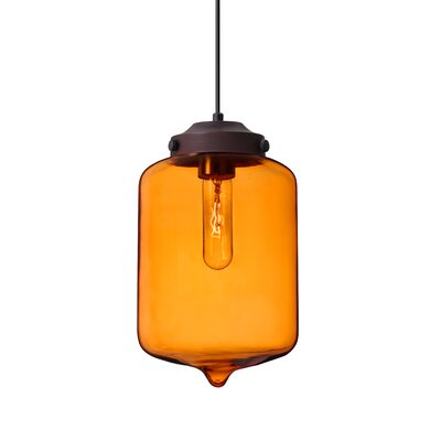 Olin 1-Light Mini Pendant Finish: Brushed Bronze, Shade Color: Amber