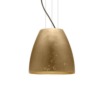 Bella 1-Light Mini Pendant Size: 12.75 H x 14.25 W x 14.25 D, Finish: Brushed Bronze, Shade Color: Gold Foil