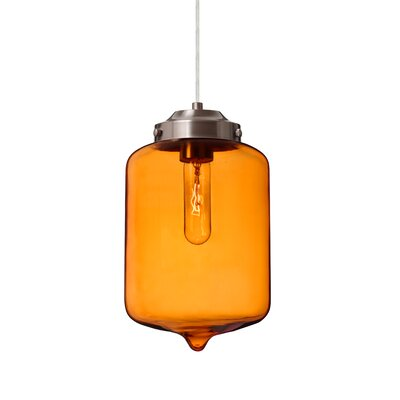 Olin 1-Light Mini Pendant Shade Color: Amber, Finish: Satin Nickel
