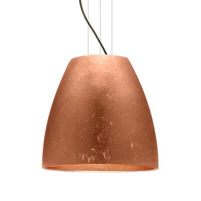 Bella 1-Light Mini Pendant Finish: Brushed Bronze, Shade Color: Copper Foil, Size: 17.75 H x 19.75 W x 19.75 D