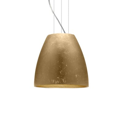 Bella 1-Light Mini Pendant Finish: Satin Nickel, Shade Color: Gold Foil, Size: 12.75 H x 14.25 W x 14.25 D