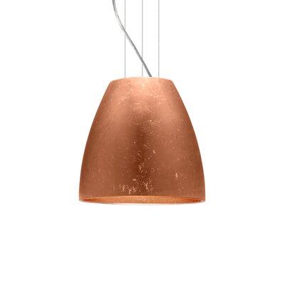 Bella 1-Light Mini Pendant Finish: Satin Nickel, Shade Color: Copper Foil, Size: 12.75 H x 14.25 W x 14.25 D