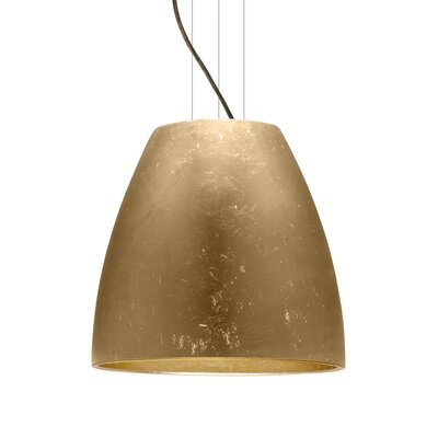 Bella 1-Light Mini Pendant Finish: Brushed Bronze, Shade Color: Gold Foil, Size: 17.75 H x 19.75 W x 19.75 D