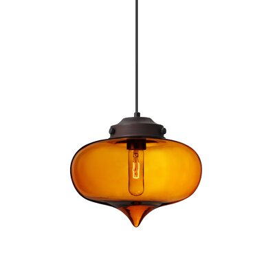 Sperling 1-Light Mini Pendant Finish: Brushed Bronze, Shade Color: Amber