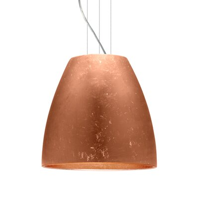 Bella 1-Light Mini Pendant Finish: Satin Nickel, Shade Color: Copper Foil, Size: 17.75 H x 19.75 W x 19.75 D