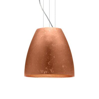 Bella 1-Light Mini Pendant Finish: Satin Nickel, Shade Color: Copper Foil, Size: 15 H x 16.5 W x 16.5 D