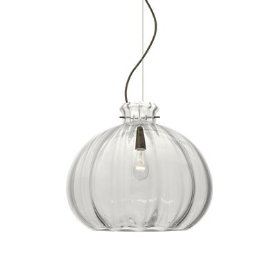 Pinta 1-Light Mini Pendant Finish: Brushed Bronze, Shade Color: Clear, Size: 11.88 H x 14.25 W x 14.25 D