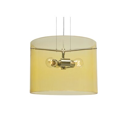 Pahu 3-Light Mini Pendant Size: 11.75 H x 15.75 W x 15.75 D, Finish: Satin Nickel, Shade Color: Gold