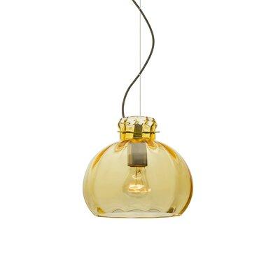Pinta 1-Light Mini Pendant Finish: Brushed Bronze, Size: 9 H x 10.25 W x 10.25 D, Shade Color: Gold