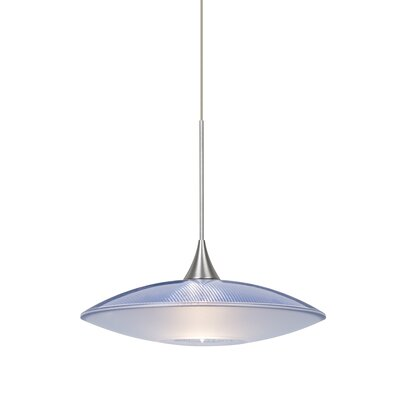 Spazio 1-Light Cord Pendant Finish: Satin Nickel, Shade Color: Blue