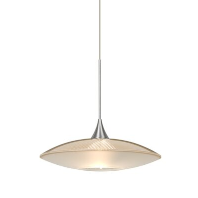 Spazio 1-Light Cord Pendant Finish: Satin Nickel, Shade Color: Gold