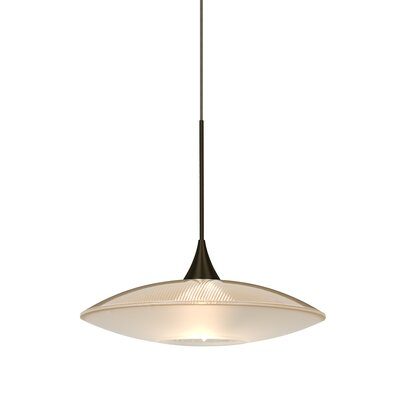Spazio 1-Light Cord Pendant Finish: Bronze, Shade Color: Gold