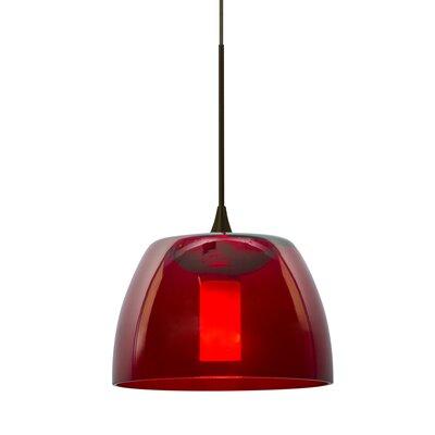Spur 1-Light Cord Mini Pendant Finish: Bronze, Shade Color: Red