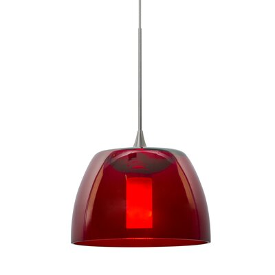 Spur 1-Light Cord Mini Pendant Finish: Satin Nickel, Shade Color: Red