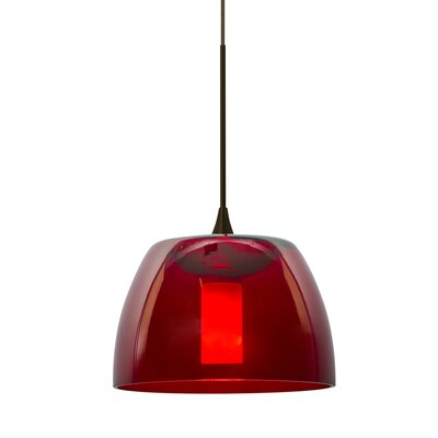 Spur 1-Light Cord Mini Pendant Finish: Bronze, Shade Color: Red