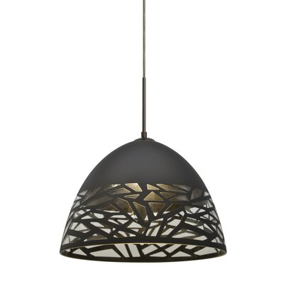 Kiev 1-Light Cord Bowl Pendant Finish: Bronze, Shade Color: Black