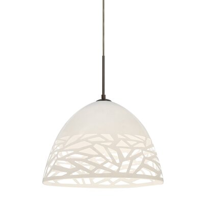 Kiev 1-Light Cord Bowl Pendant Finish: Bronze, Shade Color: White