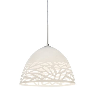 Kiev 1-Light Cord Bowl Pendant Finish: Satin Nickel, Shade Color: White