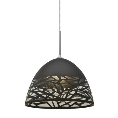 Kiev 1-Light Cord Bowl Pendant Shade Color: Black, Finish: Satin Nickel