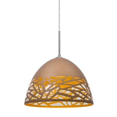 Kiev 1-Light Bowl Pendant Finish: Satin Nickel, Shade Color: Copper