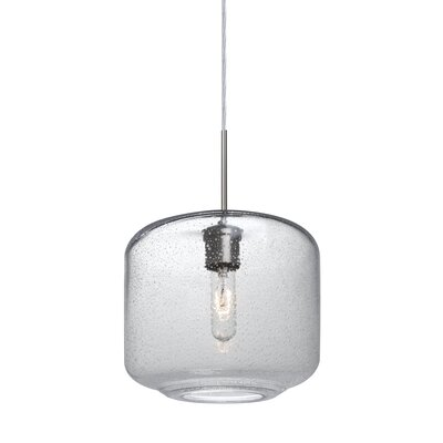 Spero 1-Light Cylindrical Cord Mini Pendant Finish: Satin Nickel, Shade Color: Clear