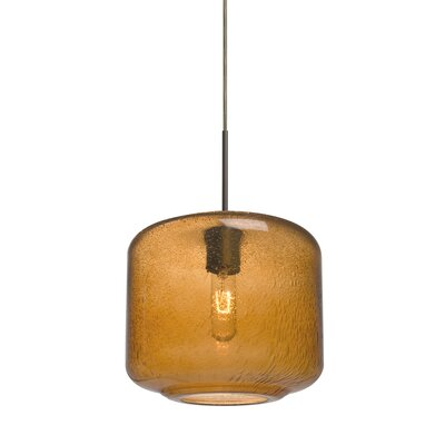 Spero 1-Light Cylindrical Cord Mini Pendant Finish: Bronze, Shade Color: Blue