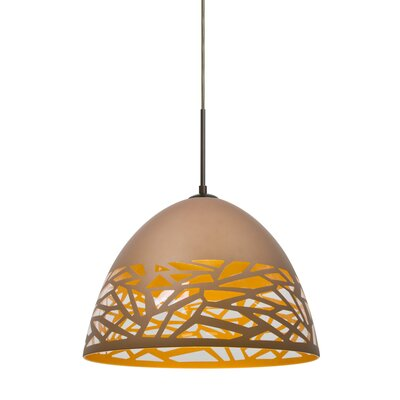 Kiev 1-Light Bowl Pendant Finish: Bronze, Shade Color: White