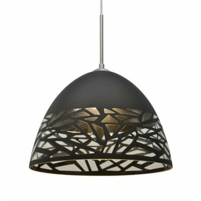 Kiev 1-Light Bowl Pendant Finish: Satin Nickel, Shade Color: Black