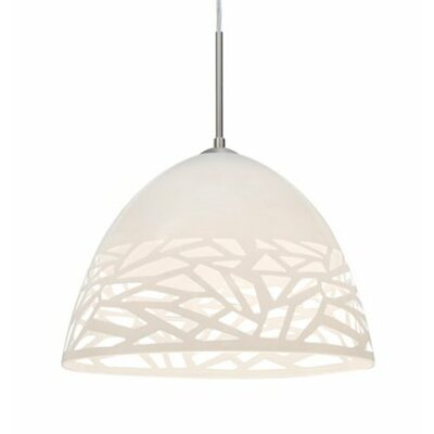 Kiev 1-Light Bowl Pendant Finish: Satin Nickel, Shade Color: White